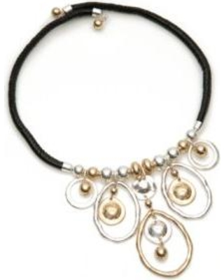 New Directions Black/Gold/Silver Leather Collar 2-Tone Drop Necklace