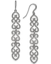 Inc Silver-Tone Pave Openwork Linear Drop Earrings, Created for Macy's