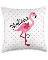 Personalized Gifts Pink Flamingo By HustlaGirl Melissa Personalized Gifts Pink Flamingo Throw Pillow, 18x18, Multicolor