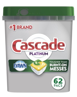 Cascade Platinum ActionPacs Dishwasher Detergent, Lemon Scent, 62 ct