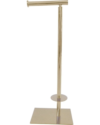 Kingston Brass Claremont Free Standing Toilet Paper Holder in Brushed Nickel, Polished Brass