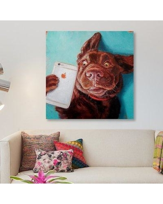 """East Urban Home 'Dog Selfie' Print on Canvas URBH9596 Size: 26"""" H x 26"""" W x 1.5"""" D"""
