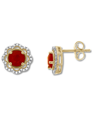 Lab-Created Ruby Earrings Lab-Created White Sapphires 10K Gold