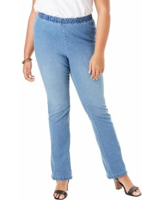 Plus Size Women's Straight-Leg Pull-On Stretch Jean By Denim 24/7 by Roaman's in Light Stonewash Sanded (Size 16 T)
