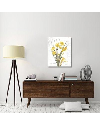 "East Urban Home 'March Daffodil on White' Graphic Art Print on Canvas ERBR1582 Size: 35"" H x 28"" W x 1.5"" D"