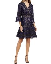 Shani Embroidered Lace Fit & Flare Cocktail Dress, Size 4 in Black/Blue at Nordstrom