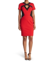 FOCUS BY SHANI Ponte Dress With Leather Detail, Size 12 in Black/Red at Nordstrom Rack