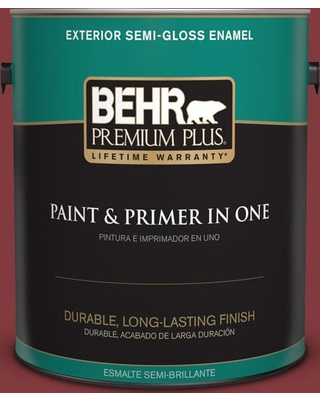 BEHR PREMIUM PLUS 1 gal. #S-H-130 Red Red Wine Semi-Gloss Enamel Exterior Paint and Primer in One