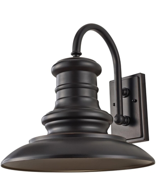 Feiss Redding Station 1-Light Restoration Bronze Outdoor 15.625 in. Integrated LED Wall Lantern Sconce