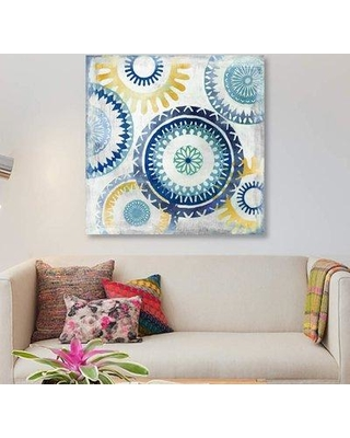 "East Urban Home 'Blue Ease II' Graphic Art Print on Canvas ETRB4530 Size: 12"" H x 12"" W x 1.5"" D"