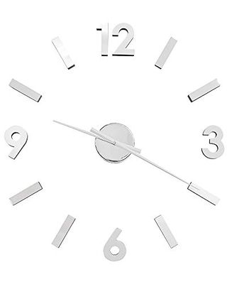 Torre & Tagus Versa DIY Adhesive Wall Clock for Home Office School Decorations, Large, Silver