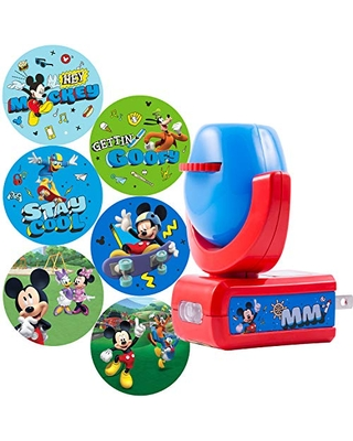 Projectables Mouse & Roadster Racers LED Night Light Projector, Plug-in, Dusk-to-Dawn Sensor, See Disney Characters on Ceiling, Wall, or Floor, 11739, Mickey Mouse   6-Image