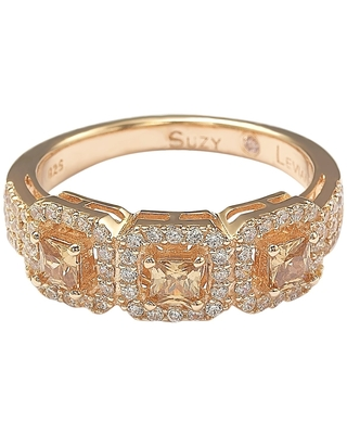 Suzy Levian Rose Sterling Silver Brown Cubic Zirconia 3-Stone Asscher-Cut Band (6.5)