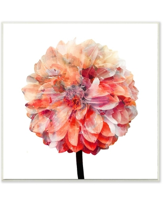 "The Stupell Home Decor Collection 12 in. x 12 in. ""Bright Coral Watercolor Bloom Dahlia Flower"" by Kimberly Allen Wood Wall Art, Multi-colored"