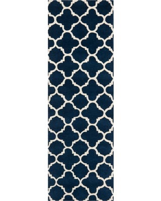"7'6""X9'6"" Tufted Quatrefoil Design Area Rug Dark Blue - Safavieh, Dark Blue/Ivory"