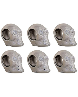"""DII Silver Skull Ceramic Napkin Rings for Themed Parties, Decoration for Halloween, 3.25"""" 6 Pack"""