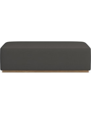 Berkshire Coffee Table Ottoman, Standard Cushion, Performance Linen Blend, Graphite, Truffle