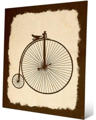 """Click Wall Art 'Penny Farthing on Parchment Umber' Painting Print TRV0000020MTL Size: 24"""" H x 20"""" W x 1"""" D"""