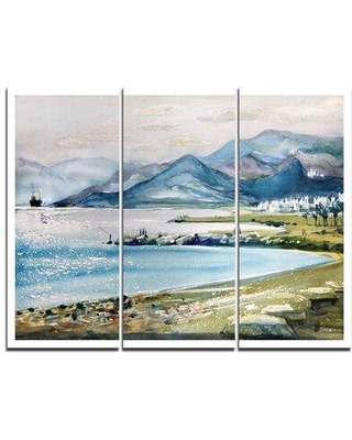 """Design Art Blue Hills Over Sea - 3 Piece Painting Print on Wrapped Canvas Set, Canvas & Fabric in Blue/Green, Size Medium 25""""-32"""" 