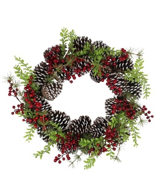 """18"""" Frosted Pine Cones and Berries Artificial Christmas Wreath - Unlit"""