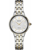 Seiko Women's Two Tone Stainless Steel Solar Watch - SUP394, Size: Small, Grey