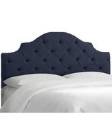 Wayfair Custom Upholstery™ Tufted Notched Upholstered Panel Headboard DTUN3463 Size: Twin Upholstery: Linen Navy