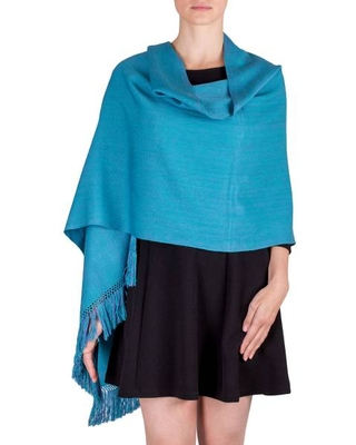 Cotton Shawl in Turquoise and Violet from Guatemala
