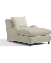 Carlisle Slipcovered Chaise, Polyester Wrapped Cushions, Premium Performance Basketweave Oatmeal
