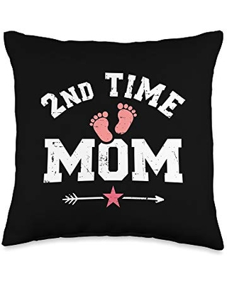2nd time mom gifts 2nd Second time mom Throw Pillow, 16x16, Multicolor