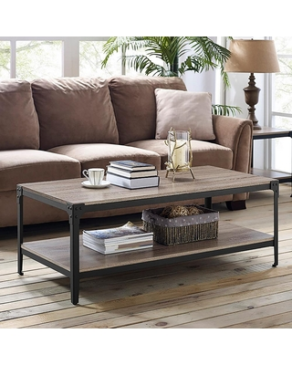Walker Edison Furniture Company Angle 48 in. Driftwood/Black Large Rectangle MDF Coffee Table with Shelf, Brown