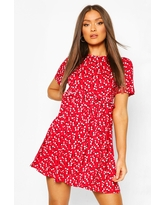 Womens Ditsy Floral Smock Dress - Red - 4