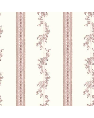 """Alcott Hill Pearsall Periwinkle Floral Stripe 33' L x 21"""" W Wallpaper Roll W000650575 Color: Rose"""