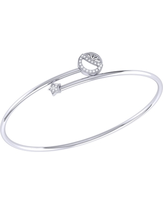 LMJ - Half Moon Star Bangle In Sterling Silver