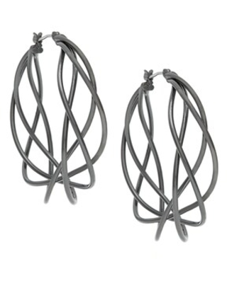 Alexa Starr Twisted Hoop Earrings (Hematite)