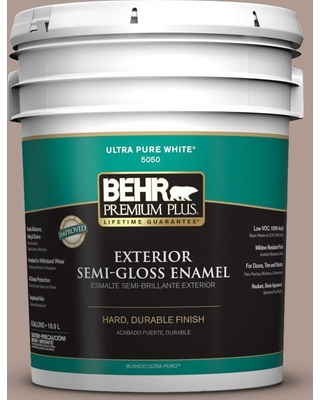 BEHR Premium Plus 5 gal. #N170-4 Coffee with Cream Semi-Gloss Enamel Exterior Paint and Primer in One