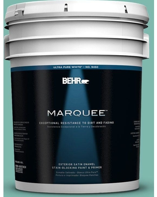 BEHR MARQUEE 5 gal. #490D-5 Winter Surf Satin Enamel Exterior Paint and Primer in One