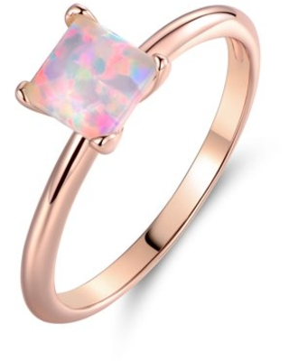 Peermont 18k Rose Gold Plated Princess-Cut Created Opal Engagement Style Ring