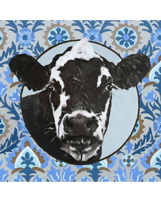 """Ebern Designs 'Dairy Cow On Paisley' Acrylic Painting Print BF173991 Size: 10"""" H x 10"""" W x 1.5"""" D Format: Wrapped Canvas"""