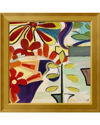 """East Urban Home 'Happy Snappy Garden BR' Framed Oil Painting Print on Canvas EUAH7780 Size: 22"""" H x 22"""" W Matte Type: None"""