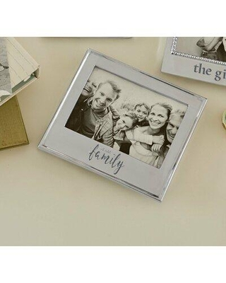 """Mariposa We Are Family Signature Picture Frame, Metal in Silver, Size 7""""H X 8""""W   Wayfair 4400WF"""