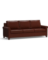 """Cameron Roll Arm Leather Grand Sofa 100"""", Polyester Wrapped Cushions, Leather Signature Whiskey"""