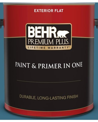 BEHR PREMIUM PLUS 1 gal. #560D-6 Seven Seas Flat Exterior Paint and Primer in One