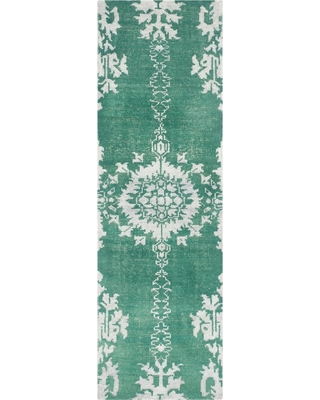 "2'6""X8' Medallion Knotted Runner Emerald/Light Gray - Safavieh"