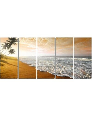Design Art Wavy Clouds over Seashore 5 Piece Photographic Print on Wrapped Canvas Set PT10755-401