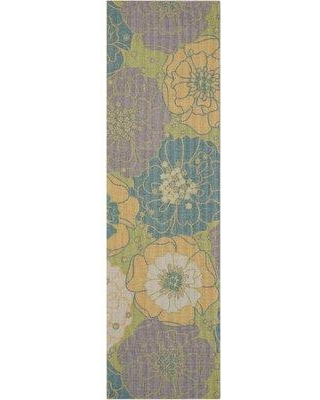 "Charlton Home Wright Green/Yellow/Gray/Teal Blue Area Rug CHLH7981 Rug Size: Runner 2'3"" x 8'"