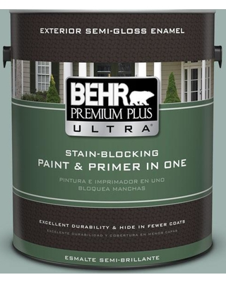 BEHR ULTRA 1 gal. #490F-4 Gray Morning Semi-Gloss Enamel Exterior Paint and Primer in One