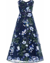 Strapless Floral-appliquéd Embroidered Tulle Gown - Blue - Marchesa notte Dresses