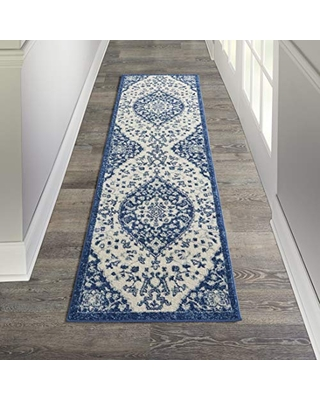 """Nourison Passion Ivory Blue 2'2"""" x 7'6"""" Area Rug (8' Runner)"""