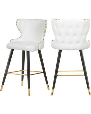 Hendrix White Faux Leather Counter/Bar Stool Set of 2
