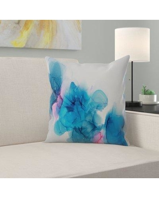 "East Urban Home Waiting In The Wings Throw Pillow, Polyester/Polyfill/Polyester/Polyester blend in Blue/Gray/Silver, Size 14"" H x 14"" W x 1.5"" D"